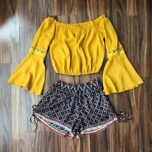 Angie & Agaci Juniors Crop Top Short Outfit Size S